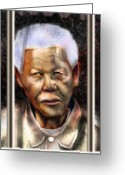 Nobel Peace Prize Greeting Cards - And God Remembered Prisoner 46664 Greeting Card by Reggie Duffie
