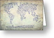 Earth Map Greeting Cards - AND Sign Old World Map Greeting Card by Georgeta  Blanaru