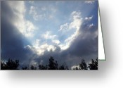 Storm Prints Greeting Cards - And The Clouds Opened Up Greeting Card by Christy Patino