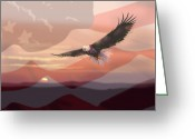Usa Painting Greeting Cards - And the Eagle Flies Greeting Card by Paul Sachtleben