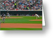 Third Base Greeting Cards - And the Runner Goes Greeting Card by Robert Harmon