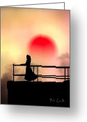 Silhouette Greeting Cards - And The Sun Also Rises Greeting Card by Bob Orsillo