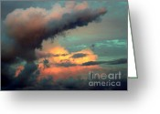 Stormy Skies Greeting Cards - AND the THUNDER ROLLS Greeting Card by Karen Wiles