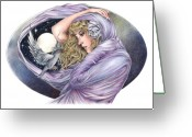 Fantasy Bird Pastels Greeting Cards - And the Wind Became Crazy Greeting Card by Johanna Pieterman