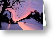 Pull Greeting Cards - And The Winter Sun Set Greeting Card by Charlie Spear