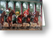 Jockeys Greeting Cards - And Theyre Off Greeting Card by Thomas Allen Pauly