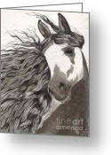 Equine Watercolor Portrait Greeting Cards - Andalusian Horse Greeting Card by Kate Black