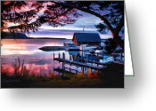 Door County Landmark Greeting Cards - Andersen Dock Sunset Greeting Card by Christopher Arndt