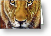 African Cats Greeting Cards - Andre Lion Greeting Card by Jurek Zamoyski