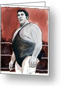 Hall Of Fame Greeting Cards - Andre The Giant Greeting Card by Dave Olsen
