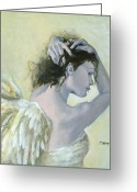 Angel Painting Greeting Cards - Angel    Greeting Card by Dorina  Costras