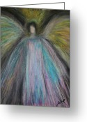 Angel Pastels Greeting Cards - Angel-1 Greeting Card by Alma Yamazaki