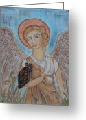 Religious Art Painting Greeting Cards - Angel and Owl Greeting Card by Rain Ririn