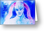 Guardian Angel Mixed Media Greeting Cards - Angel Blue Greeting Card by Hartmut Jager