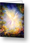 Guardian Angel Greeting Cards - Angel Descending Greeting Card by Marina Petro