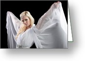 Looking At Camera Greeting Cards - Angel Goddess Greeting Card by Cindy Singleton