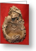 Surrealism Sculpture Greeting Cards - Angel Heart Greeting Card by Larkin Chollar