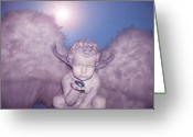 Anjo Greeting Cards - Angel-Heart Greeting Card by Ramon Labusch
