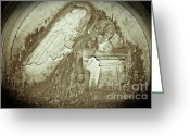 Guardian Angel Reliefs Greeting Cards - Angel in Grief Greeting Card by Yurix Sardinelly