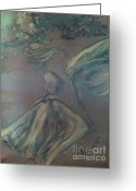 Angel Mermaids Ocean  Greeting Cards - Angel in Wind Greeting Card by Joyce Auteri