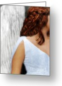 Symbolic Waiting Greeting Cards - Angel  Greeting Card by Jill Battaglia