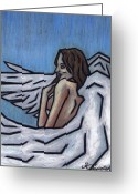 Surrealism Pastels Greeting Cards - Angel Greeting Card by Kamil Swiatek