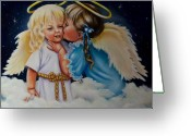 Angel Greeting Cards - Angel Kiss Greeting Card by Joni McPherson