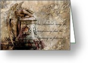 Inspirational Prints Photo Greeting Cards - Angel Laying On Coffin Inspirational Angel Art Greeting Card by Kathy Fornal