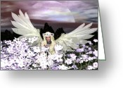 Guardian Angel Mixed Media Greeting Cards - Angel my Guardian Greeting Card by Eva Thomas