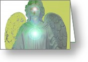 Engill Mixed Media Greeting Cards - Angel of Devotion No. 10 Greeting Card by Ramon Labusch