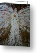 Gold Mixed Media Greeting Cards - Angel of divine Healing Greeting Card by Alma Yamazaki