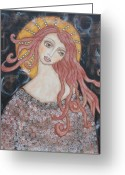 Religious Art Painting Greeting Cards - Angel of Grace Greeting Card by Rain Ririn