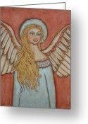 Angel Pastels Greeting Cards - Angel of Liberation Greeting Card by Rain Ririn
