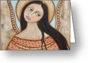 Angel Pastels Greeting Cards - Angel of Silence Greeting Card by Rain Ririn