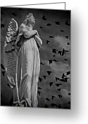 Arms Folded Greeting Cards - Angel of Stone BW Greeting Card by David Dehner