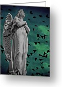 Arms Folded Greeting Cards - Angel of Stone Greeting Card by David Dehner