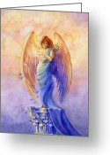Mythological Greeting Cards - Angel of Truth and Illusion Greeting Card by Janet Chui