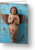 Faith Photo Greeting Cards - Angel on blue wooden wall Greeting Card by Garry Gay