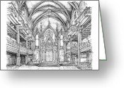 Exhibition Drawings Greeting Cards - Angel Orensanz center in NYC Greeting Card by Lee-Ann Adendorff