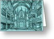 Commission Greeting Cards - Angel Orensanz in blue Greeting Card by Lee-Ann Adendorff