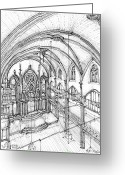 York Drawings Greeting Cards - Angel Orensanz sketch 3 Greeting Card by Lee-Ann Adendorff
