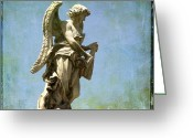 Religious Photo Greeting Cards - Angel. Ponte SantAngelo. Rome Greeting Card by Bernard Jaubert