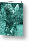 Somber Greeting Cards - Angel Prayer Greeting Card by John Greim