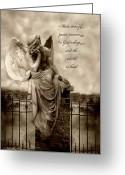 Coffin Greeting Cards - Angel Resting On Fence Inspirational Angel Art Greeting Card by Kathy Fornal