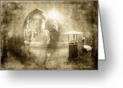 Ym_art Greeting Cards - Angel Spirit Sepia Greeting Card by Yvon -aka- Yanieck  Mariani