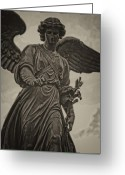 Central Park Greeting Cards - Angel Statue Bethesda Fountain Central Park Greeting Card by Robert Ullmann