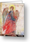 Byzantine Icon Greeting Cards - Angel Greeting Card by Tanya Ilyakhova