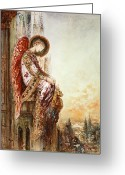 Watercolor Painting Greeting Cards - Angel Traveller Greeting Card by Gustave Moreau