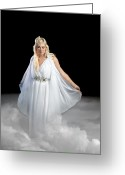 Cindy Greeting Cards - Angel Walking on Clouds Greeting Card by Cindy Singleton