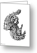 Outsider Art Drawings Greeting Cards - Angel Watching Greeting Card by Karen Musick